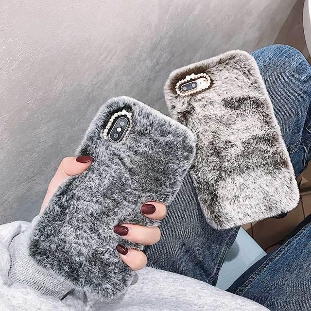 Regalo Della Signora di modo per il Caso di iPhone XS Max XR X 11 Pro Max SE SE2 Furry fluffy Caldo Della Copertura per iPhone 6 6S 7 8 Più Morbido Cassa Del Telefono 3
