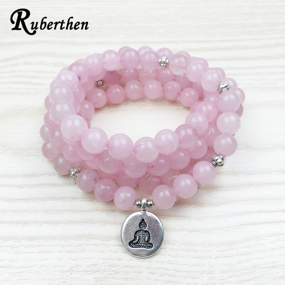 Ruberthen Top Sale 108 Pink Natural Stone Mala Bracelet Women Yoga Jewelry Buddhist Chakra Necklace Heart Yoga Lotus Bracelet