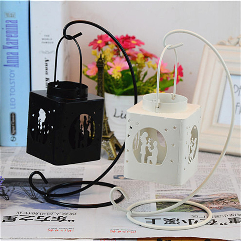 Fashion Creative AIron Square Hollow Candle Candlestick Candle Holder Hang on The Tree or Wall Home Wedding Decoration 5