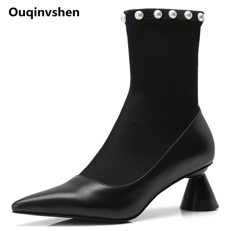 Ouqinvshen Rivet Black Women Winter Boots Pointed Toe Rummer Genuine Leather Fashion Casual Sexy Pumps Strange Style Sock Boots