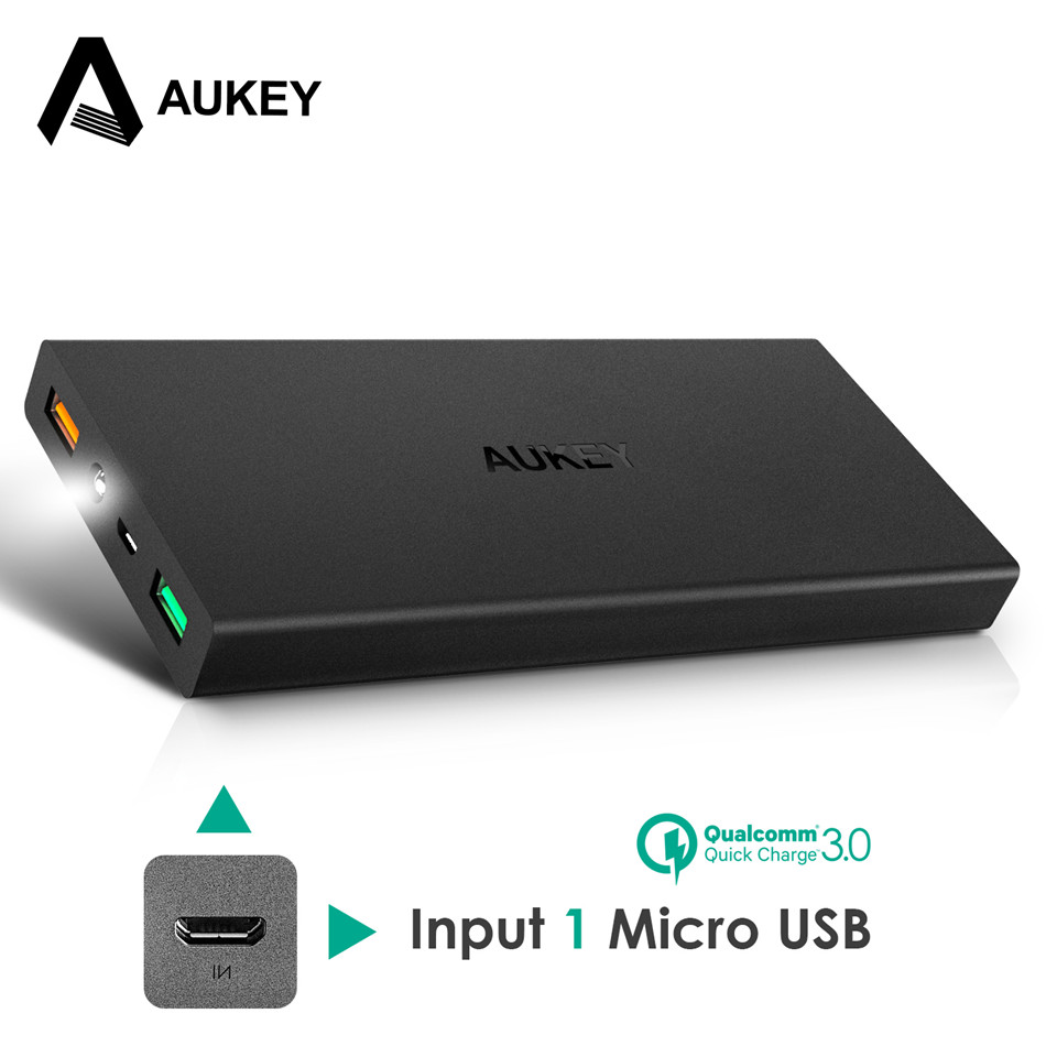 AUKEY 16000mAh Quick Charge 3 0 Power Bank Dual USB Portable External Battery Fast Mobile Powerbank