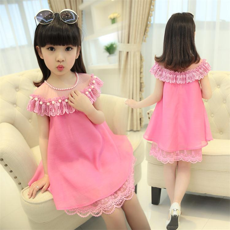 Summer Girls Evening Dress 2016 Children Costume Clothes Kids Chiffon Princess Dresses Baby Girl Party Dress With Pearl Necklace цена и фото