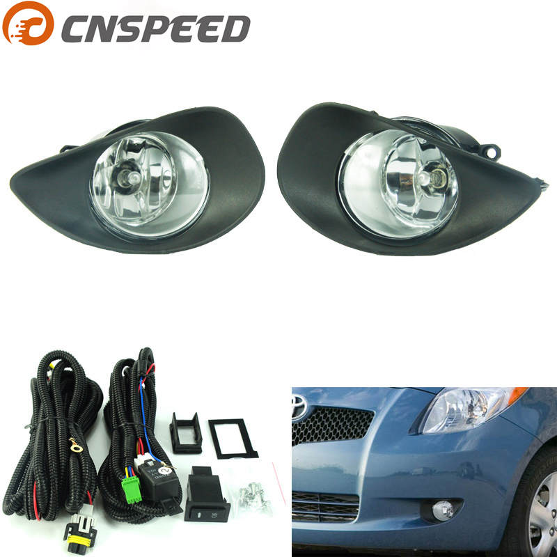 CNSPEED Fog light fit for TOYOTA YARIS HATCHBACK VITZ 2006-2008 Fog lamps Clear Lens Bumper Fog Lights Driving Lamps YC100596-CL fog lights lamp for toyota yaris senda 2006 belta vios 2007 clear lens pair set wiring kit fog light set