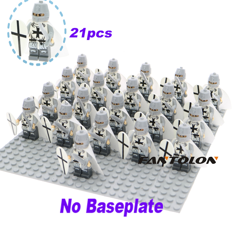 21Pcs/Lot Crusader Rome Commander Soldiers Medieval Knights Super Heroes Legoelys Building Blocks Toys Children Gifts Xh645
