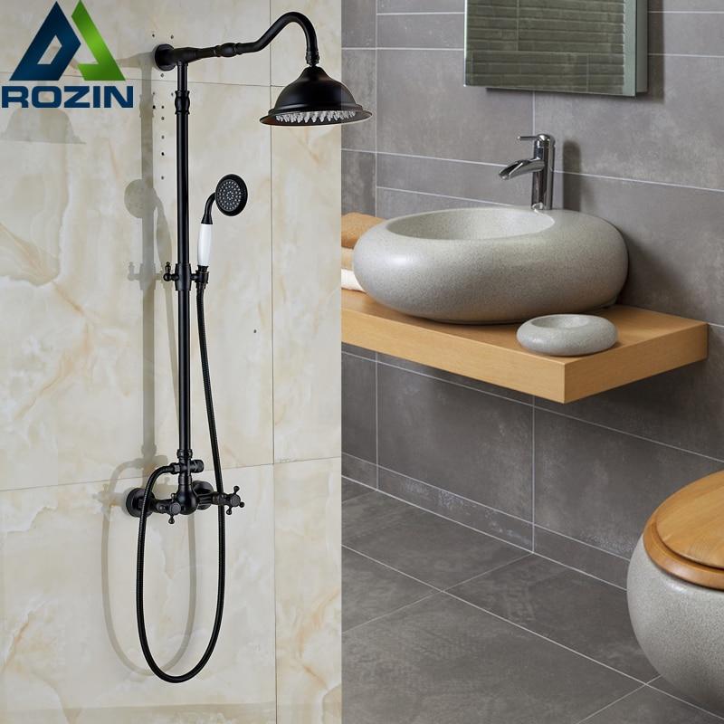Classic Dual Cross Handles In Wall Shower Faucet Mixer 8