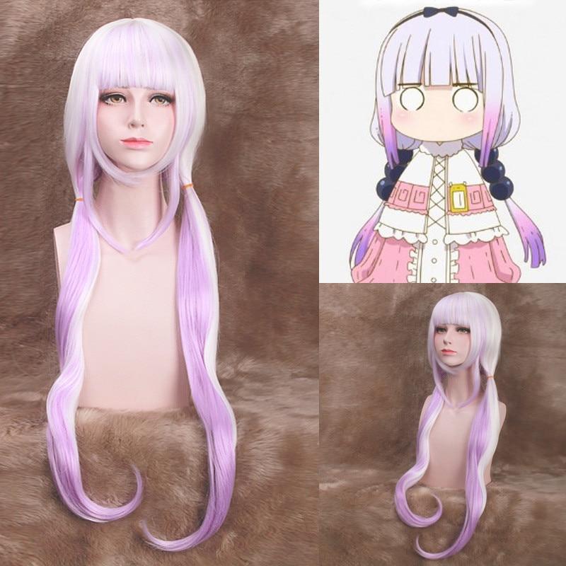 80cm Kobayashi-san Chi No Maid Dragon Kamui Kanna Wigs Gradient Cosplay Peluca Hair Ornaments Horns Headdress Accessories