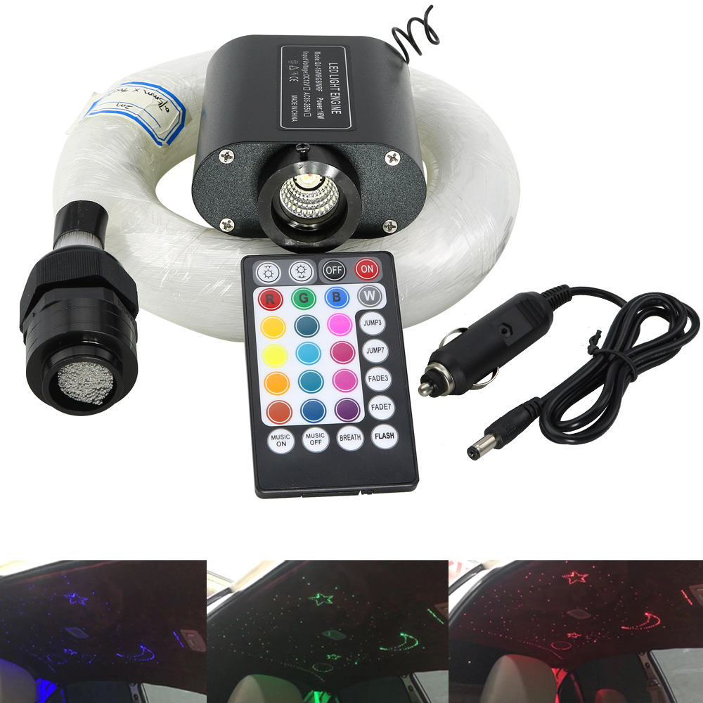 Car Use 16W  Fiber Optic Star Ceiling Lighting Kit Sound Active Music Active Control With 2M Fiber Optic Cable