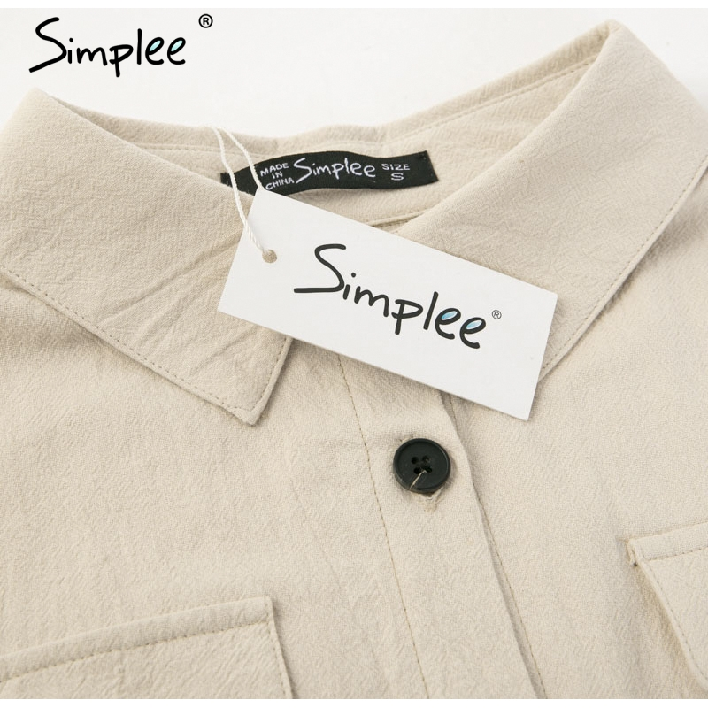 Simplee Elegant linen short shirt dress women Long sleeve cotton dress buttons female vestidos Vintage summer dresses casual 14