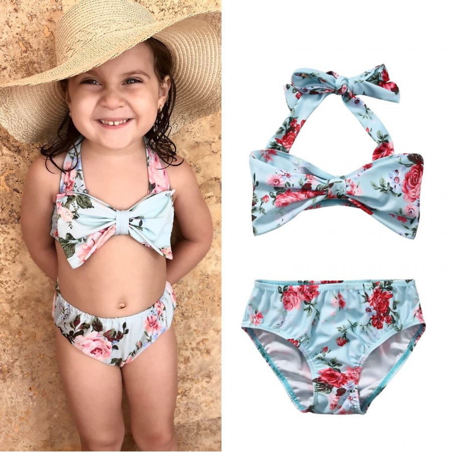 4e6b93dcf8 2Pcs Baby Girls Halter Bow Swimwear Two-piece Kids Girl Floral Bikini  Swimwears Swimsuit Bathing Suit Swimming Costume