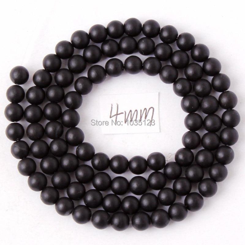 Kualitas tinggi Putaran Batu Akik Alami Buram Hitam Gelang Kalung - Perhiasan fashion - Foto 2