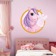Cute Cartoon Unicorn Wall Stickers Colorful Animals Horse Decals For Kids Girls Room Poster Wallpaper Home Decor