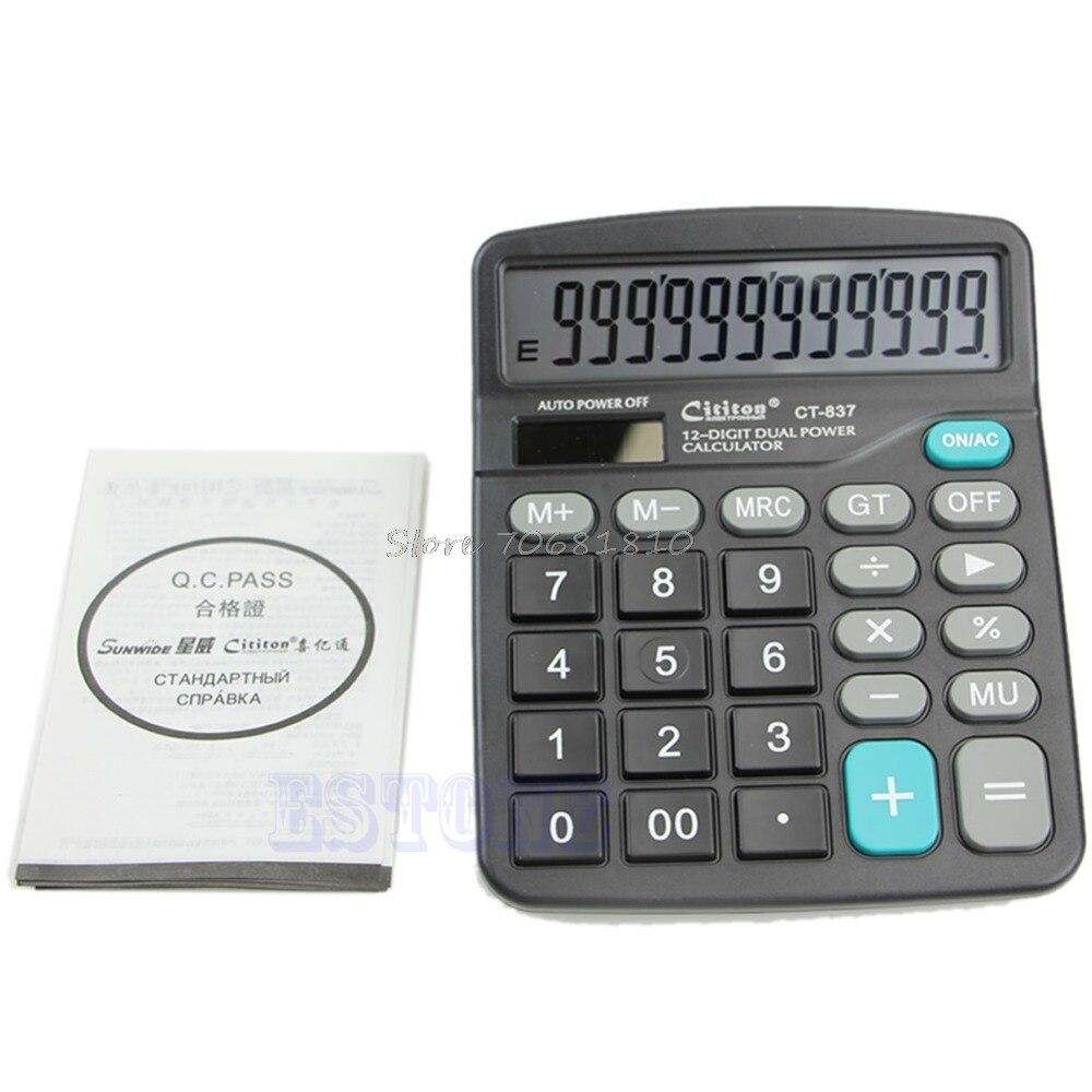 Большой Пуговицы двойной Мощность солнечной и Батарея Мощность ED рабочего стол разрядный калькулятор # 4xfc # Прямая доставка