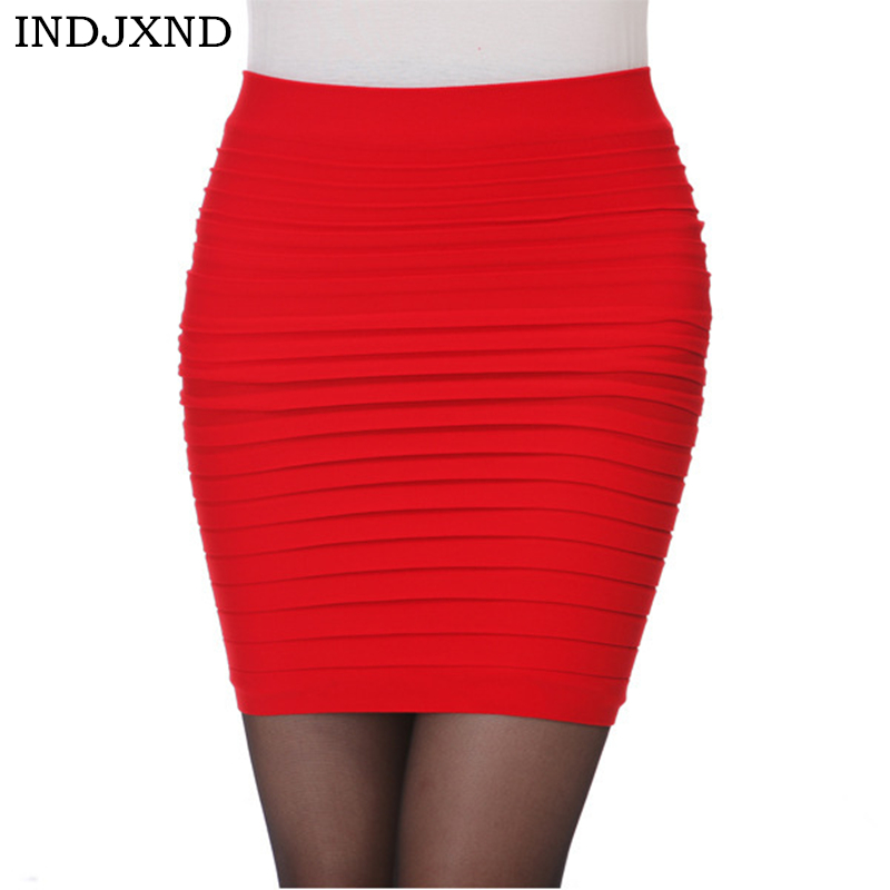 INDJXND Woman OL Mini Short Skirt Women Pleated Skirt High Waist Candy Color Elastic Pleated Skirt Female Sexy Slim Mini Skirt