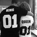 Rey y la Reina 01 Parejas Camisas Camiseta Set 100% Algodón Camiseta Unisex Novia Novio Camiseta Negro Blanco