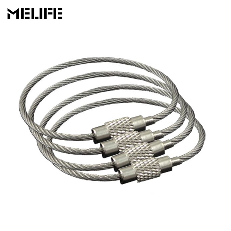 10PCS Climbing Accessories Mousqueton Cable Carabiner Key Chain Camping Hook Clip EDC Tool Stainless Steel Wire Rope Key Ring