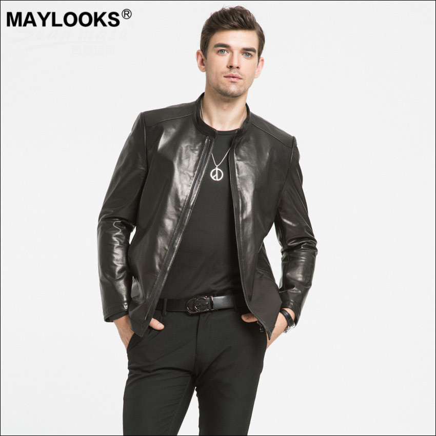 Maylooks 2018 New Headcoat Goat Leather Jacket Men's Real Leather Coat Leisure Korean version Spring and Autumn WS79