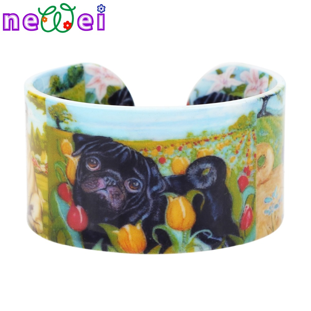 NEWEI Plastic Rural French Bulldog Pug Dog Bangles Bracelets Indian Fashion Craft Jewelry For Women Girl Ladies Accessories Pet