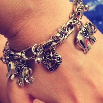 IF ME Vintage Bohemian Gold Color Elephant Heart Charms Bracelets for Women Fashion Chain Gift Pulseira Feminina Jewelry 1