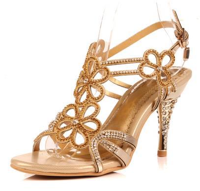 ФОТО Hollow Flowers Rhinestone Sandals Open Toe Women High Heel Shoes Crystal Bohemian Roman High-heeled Sandals Diamond Pumps Shoes
