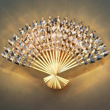 led e14 Funky Fan Shaped Crystal Stainless Steel LED Lamp LED Light Wall lamp Wall Light Wall Sconce For Bar Store Foyer Bedroom(China)