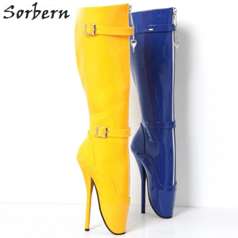 Sorbern Woman Shoes 18CM Extreme High Heel Fashion Fetish Goth Ballet Boots Zip Buckle Strap Knee-high Boots sorbern white 18cm extreme high heel sexy lace up buckles hoof heel ballet fashion fetish zip over the knee woman boots