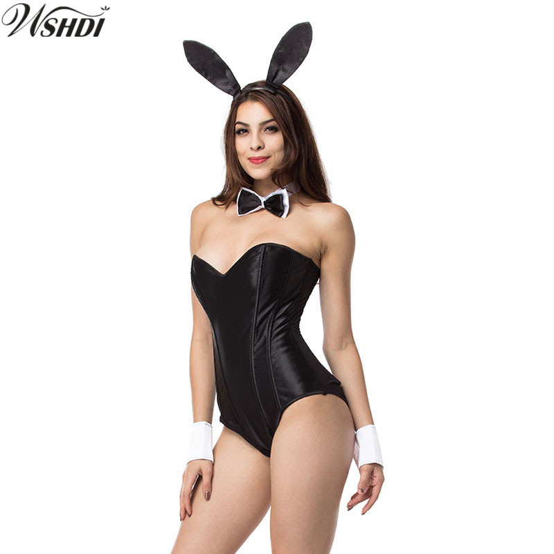 fb7f8dfd6 Black Sexy Bunny Costumes Halloween Funny Costume For Women Night Club  Party Cosplay Rabbit Teddy Bodysuit