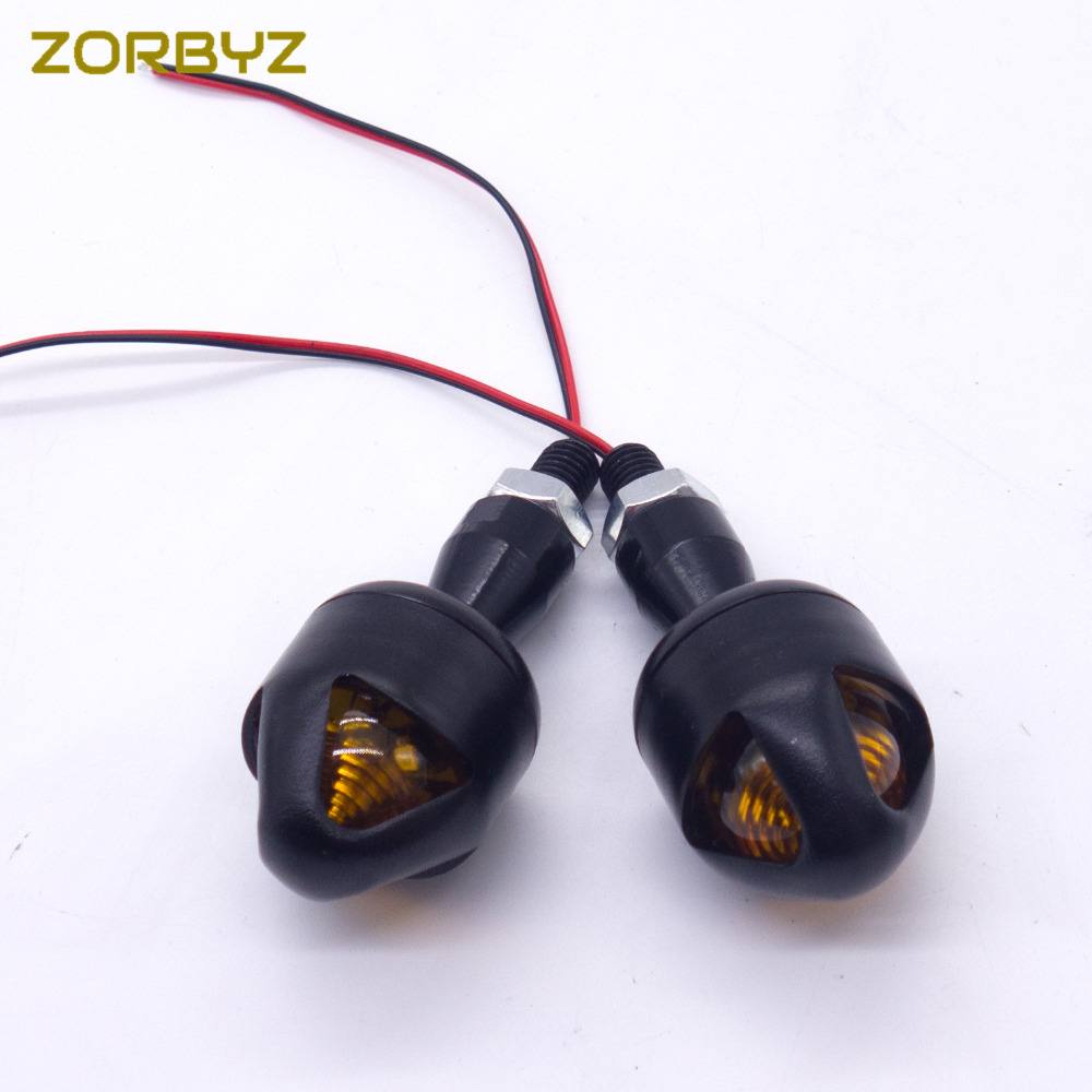 Zorbyz 1 Pair Led Black Metal Bullet Turn Signal Indicator Light For Bobber Capacitor Wiring Diagram Harley Sporster Softail 10mm Motorcycle On Alibaba Group