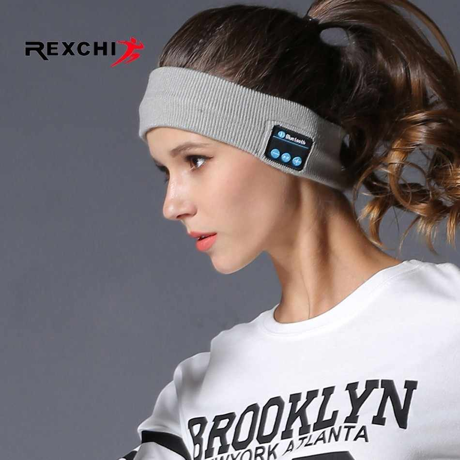 REXCHI Elastic Sweatband Sports Gym Wireless Bluetooth Music Earphone Headband for Fitness Yoga Running Cycling Sleep Hair Band