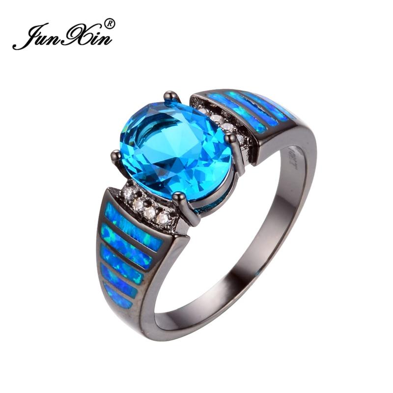 size 6789 attractive light blue jewelry women wedding blue opal rings 10kt black gold filled engagement ring - Black Opal Wedding Rings