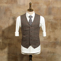 2017 Men's Fashion Single Breasted Coffee Plaid Suit Vests Man's Vintage Slim Suits Vest  For Wedding Dress