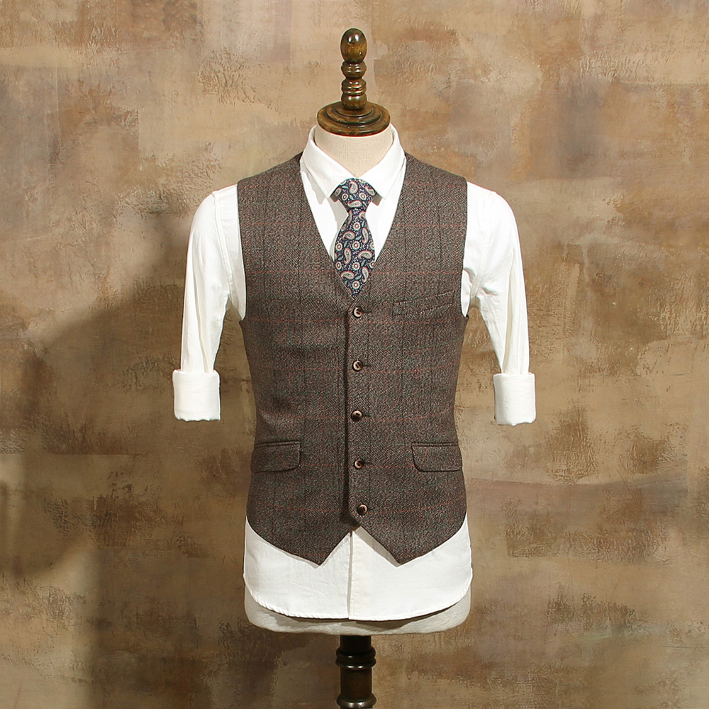 Men's Fashion Single Breasted Coffee Plaid Suit Vests Male Vintage Slim Suits Vest For Wedding Dress Groom Waistcoat