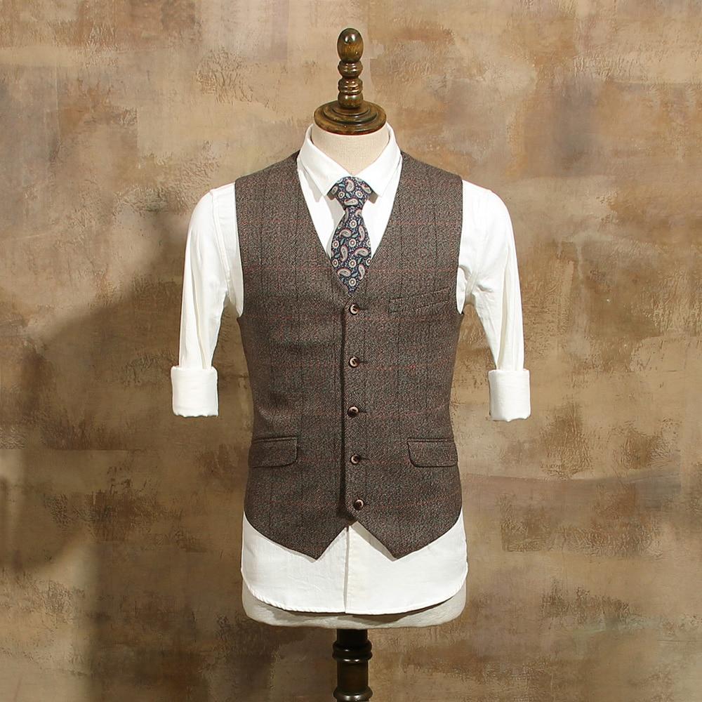 Vintage wedding groom vest - Men S Fashion Single Breasted Coffee Plaid Suit Vests Male Vintage Slim Suits Vest For Wedding Dress Groom Waistcoat Cbmj022