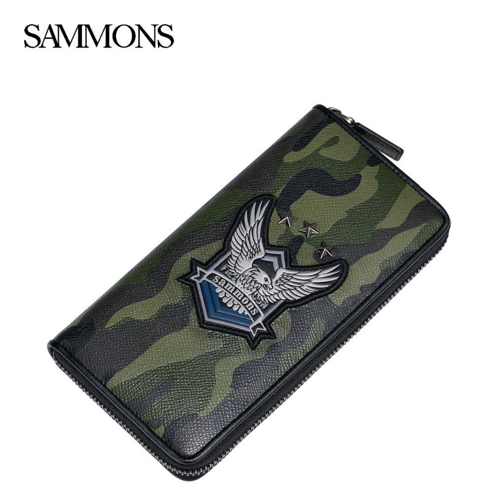 ФОТО SAMMONS Men's Genuine Leather Wallets Fashion Rivet Camouflage Purse Male Natural Leather Zipper Wallet Gift Box Packing 350257