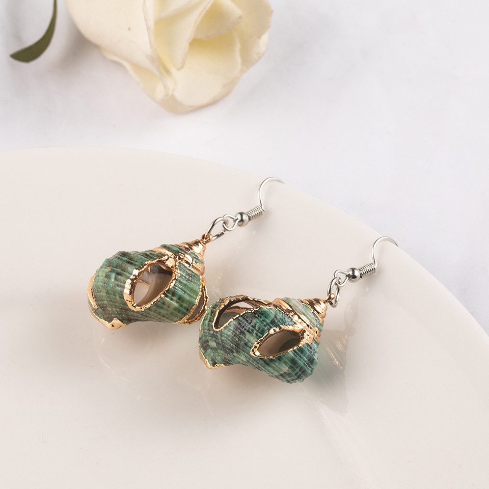 Sea Conch Shell Dangle Earrings Jewelry for Women Gold Silver Color Metal Earrings Summer Gifts Wedding Party Statement Earing (7)