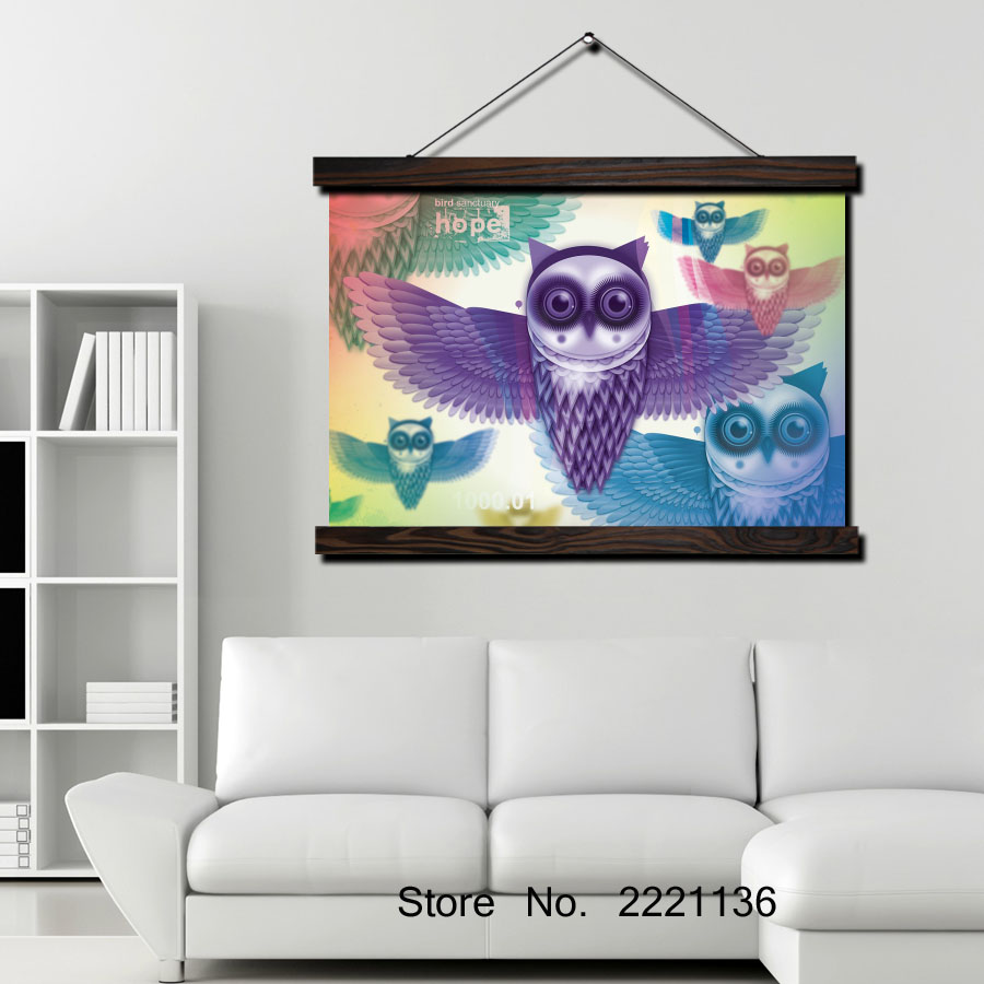 night owl HD Print Scroll Paintings Wall Art Printed Hanging Framed Canvas Painting Modern Home Decoration