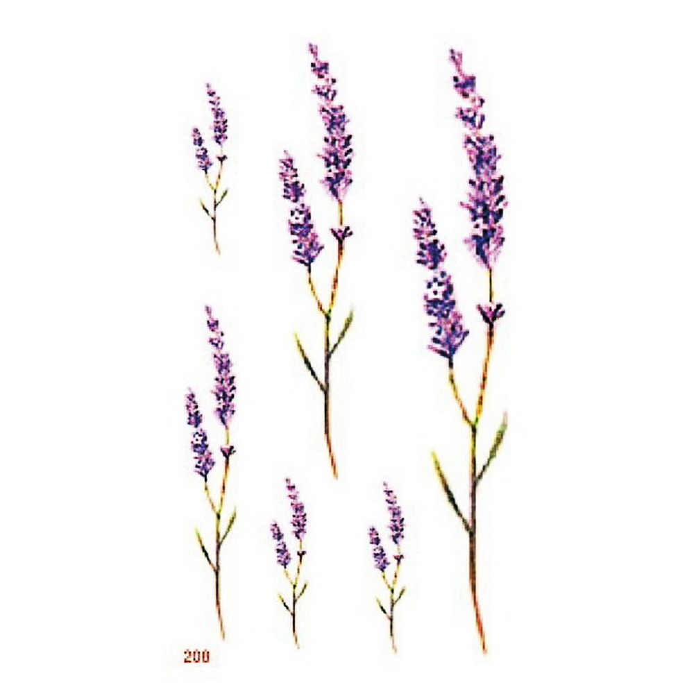 Waterproof Temporary Tattoo sticker cute sexy lavender flowers Leaves tatoo Water Transfer fake tattoo for Women