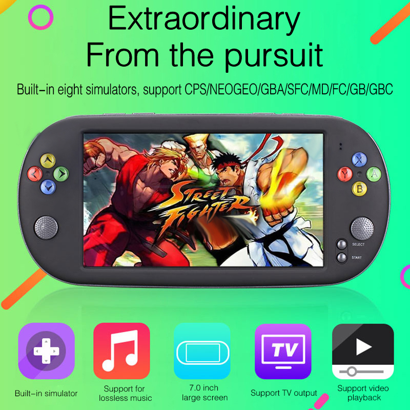5PCS/Lots Free DHL 7 Inch Game Console Portable support for neogeo arcade video games with 8 bit 16/32 bit console
