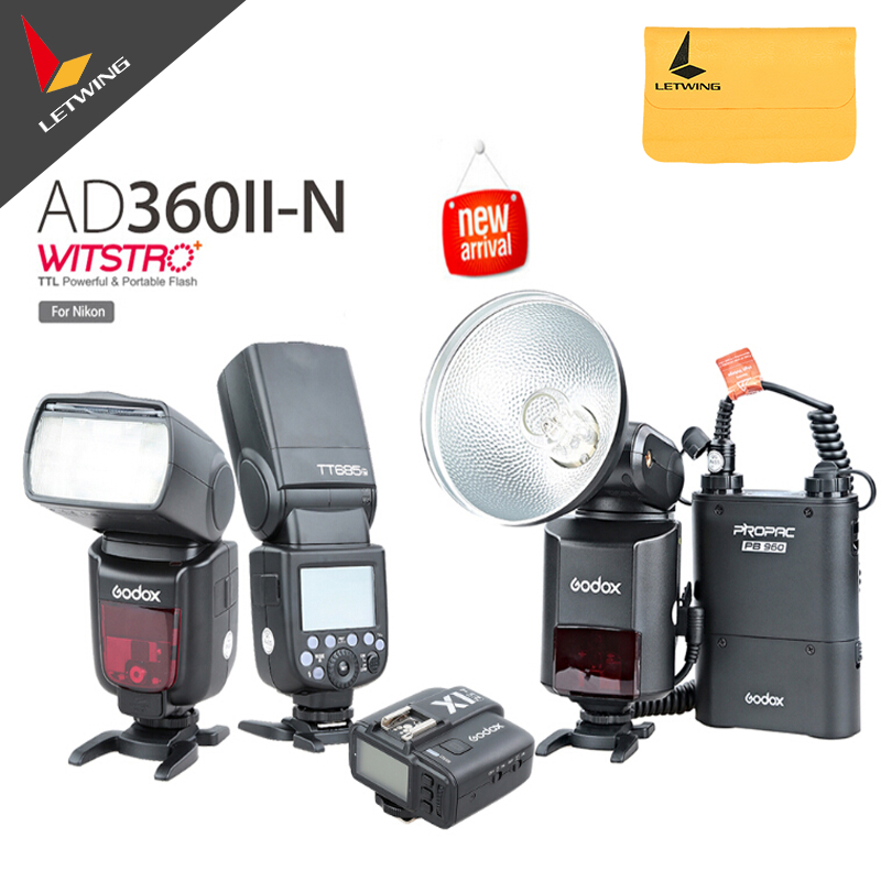 Godox AD-360 MARK II AD360II-N  Flash Light Speedlite + PB960 Black Battery + 2X TT685N 2.4G Flash + X1N Transmitter Kit складной нож flash ii