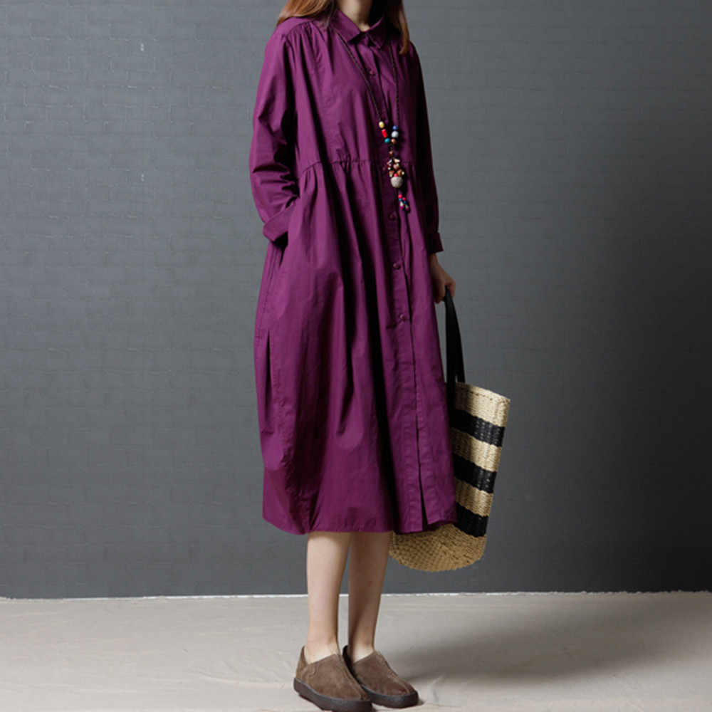 Fashion Women Long Sleeve Stand Neck Loose Bohe Casual Long Retro Dress