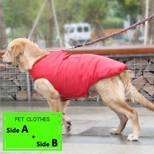 Pet Dog Clothes Jacket Coat Double-Side Wear Clothing Winter Warm Cotton for Yorkshire Small Large Big Dogs Puppy Cloth Costume 1