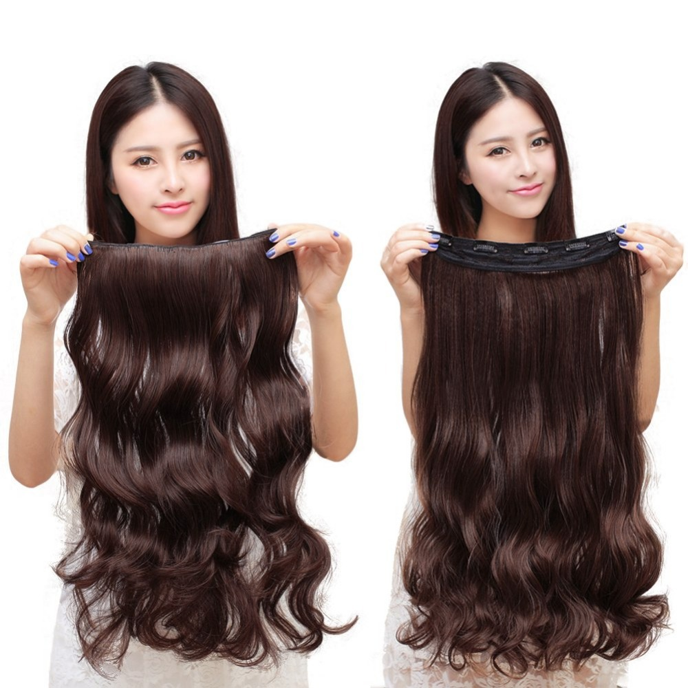 wavy hairpiece extensions de cheveux a clips tete synthetiques qualite hair rajouts for wavy in. Black Bedroom Furniture Sets. Home Design Ideas
