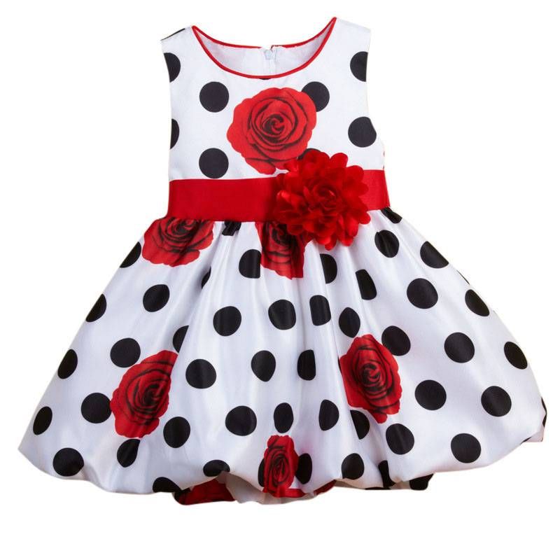 0-3 Baby Girls Dress Black Dot Red Bow Infant Summer Dress For Birthday Party Sleeveless Princess Floral Vestido Dresses LH6s