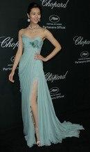 Mint Chiffon Prom Kleider Abendkleider 2014 Sexy Fashion Sweetheart Neck Side Split Kleid-partei-abend Elegante Vestido De Renda