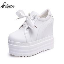 New spring season 2017 autumn high heels ladies casual shoes white black women's platform shoes women trendy women 35-39