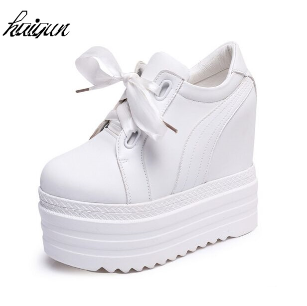 New spring season 2017 autumn high heels ladies casual shoes white black women s platform shoes