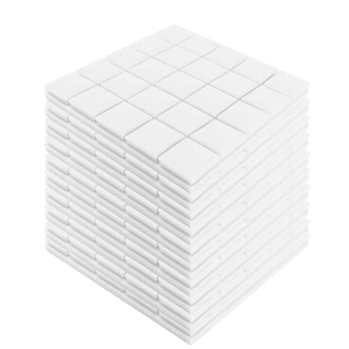 24 pces 4 cores 50x50x5cm estúdio acústico à prova de som espuma absorção de som painel telha cunha proteção esponja