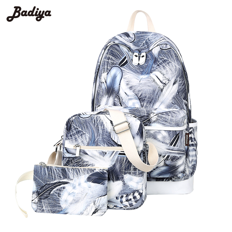 Women Lovely 3D Feather Print Nylon Backpack High Quality School Bags Travel Pack Laptop Mochila 3pcs/set Bolsas Backpacks top quality women backpacks school bags fashion backpack leather girl s bags outdoor travel pack laptop bolsas mochila xa1089c