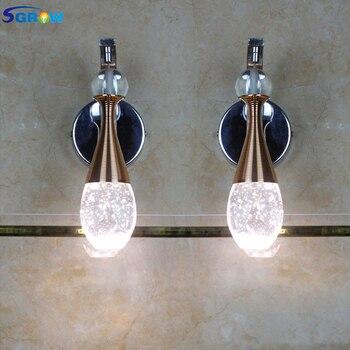 SGROW Single Head Water Droplets Crystal Wall Lamp for Living Room Bedroom Dining Room Aisle Corridor Indoor Lighting Fixtures