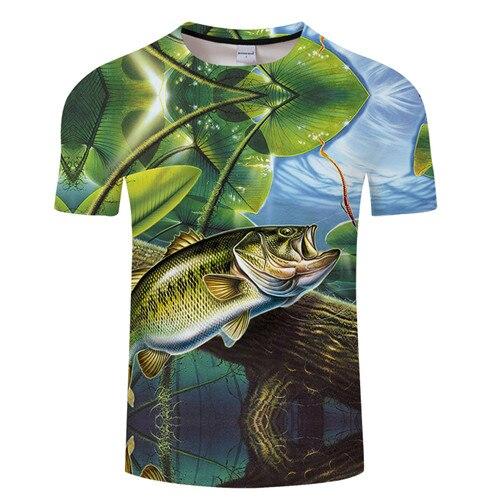 Новая футболка для рыбалки, стильная повседневная футболка с цифровым 3D принтом рыбы, мужская и женская футболка, летняя футболка с коротким рукавом и круглым вырезом, Топы И Футболки S-6XL - Цвет: TXKH1222