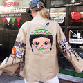 2016 Fashion Cartoon jacket women loose printed Embroidery jackets female stand collar casual coat Harajuku style clothing L6158